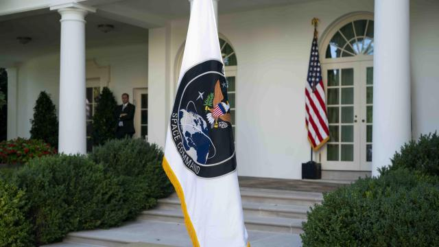 The U.S. Space Command flag after President Donald Trump announced its re-establishment, in the Rose Garden at the White House, in Washington, on Thursday, Aug. 29, 2019. (Doug Mills/The New York Times)