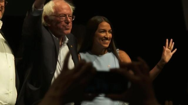 Alexandria Ocasio-Cortez endorses Bernie Sanders at his 'Bernie's Back' rally in New York