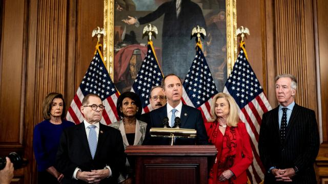 House Intelligence Committee Chairman Adam Schiff (D-Calif.), and leaders of several key committees announced articles of impeachment against President Donald Trump on Tuesday, Dec. 10, 2019, in Washington. From left, House Speaker Nancy Pelosi (D-Calif.), Reps. Jerrold Nadler (D-N.Y.), Maxine Waters (D-Calif.), Eliot Engel (D-N.Y.), Adam Schiff (D-Calif.), Caroline Maloney (D-N.Y.), Richard Neal (D-Mass.). (Erin Schaff/The New York Times)
