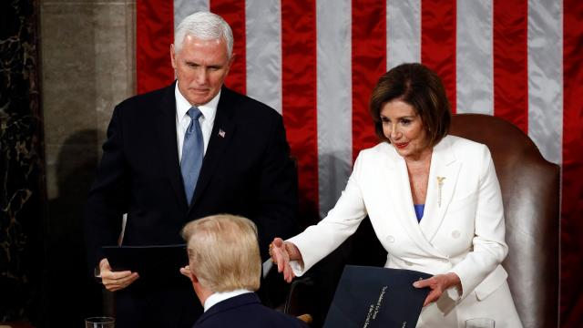 Trump appeared to snub Pelosi's offered handshake. She ripped up his speech when he was done.
