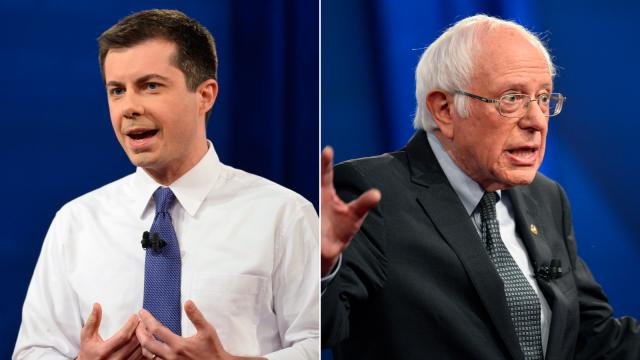 Sanders and Buttigieg facing off in New Hampshire debate as they vie to seize control of Democratic race