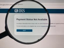 Magnified view of IRS stimulus check status page. Many users are receiving a payment status not available response when attempting to check the status