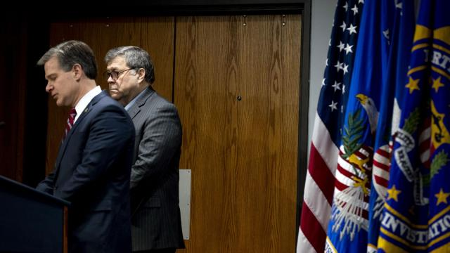 FILE -- Attorney General William Barr, right, listens as FBI Director Christopher Wray speaks in Washington on Feb. 19, 2020. (Anna Moneymaker/The New York Times)