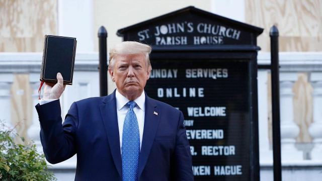 President standing before St. John's Episcopal Church and holding a Bible, Monday, June 1, 2020