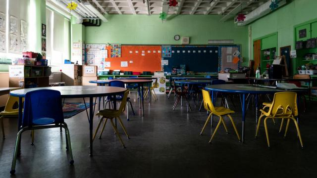 An empty classroom which has been closed since mid-March. (Erin Schaff/The New York Times).
