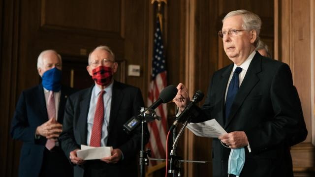 Senate Majority Leader Mitch McConnell (R-Ky.) speaks during a press conference at the Capitol in Washington, Monday, July 27, 2020. Senate Republicans on Monday threw their support behind a substantial cut in jobless aid for tens of millions of Americans laid off because of the coronavirus pandemic. (Alyssa Schukar/The New York Times)