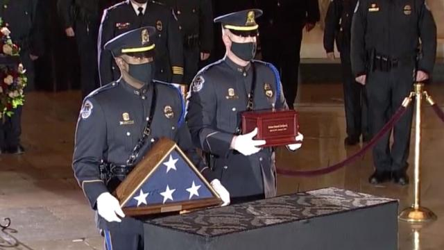 Biden pays respects to Capitol Police Officer Brian Sicknick as officer lies in honor at Capitol