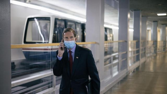 Sen. Richard Blumenthal (D-Conn.) leaves the Capitol in Washington on Wednesday, Feb. 10, 2021, after the second day of the second impeachment trial of former President Donald Trump. (Alyssa Schukar/The New York Times)