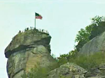 The namesake peak of Chimney Rock State Park, 25 miles southeast of Asheville.