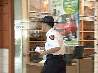 Security guards handed out memos to Triangle Town Center Mall retailers on Sunday about a melee that began inside and spilled outside the shopping center during a fight Saturday night.