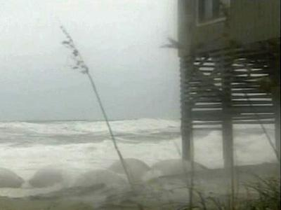 Waves crash on the Outer Banks as a storm approached on Sept. 24, 2008.