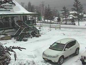 Snow fell in the North Carolina mountains on Tuesday, Nov. 25, 2008, as seen in the Web cam image from Beech Mountain.