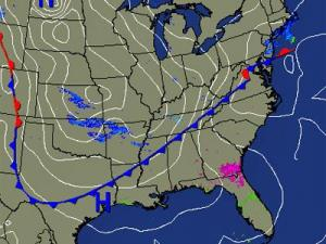 Weather Underground map shows the cold front (blue toothed line) that is beginning its sweep across North Carolina on Thursday, Jan. 15, 2009, and delivering arctic air to the Tar Heel State.