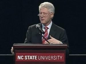 Former President Bill Clinton speaks at N.C. State University on Jan. 26, 2009.