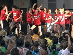 UNC students participate in a dance marathon to raise money for charity.