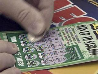 A scratch off lottery ticket