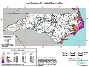 A 2003 U.S. Department of Energy study identifies areas in North Carolina that could be used for wind farms to generate electricity. (Map courtesy of the U.S. Department of Energy)