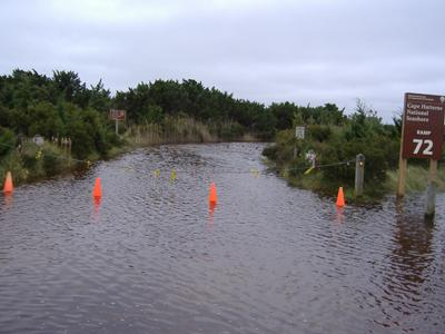 Flooded conditions exist on several NPS Beach Access Ramps such as Ramp 72 on Ocracoke Island. (Photo courtesy of the National Park Service)
