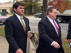 Jay Reiff, who ran former Gov. Mike Easley's two gubernatorial campaigns, leaves the federal courthouse in Raleigh on Nov. 18, 2009, after testifying to a grand jury investigating Easley's dealings with friends and contributors while in office. His attorney, Michael Weisel, is at right.