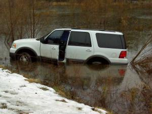 An SUV ran off Cash Road into a pond in Granville County on Friday, Feb. 5, 2010.