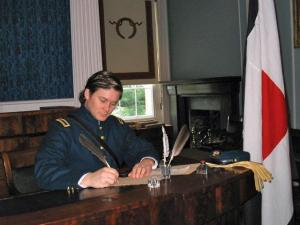 Joel T. Horton portrays Union Signal Corps Lt. George Round in a previous re-enactment at the State Capitol. The 145th anniversary of the Civil War will be observed Saturday in a living history program inside the Capitol and on the grounds. Advance reservations are recommended for that day's tours of the Capitol with costumed interpreters. (Photo courtesy of the N.C. Department of Cultural Resources)