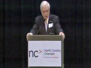 Former Gov. Jim Hunt speaks at the North Carolina Chamber of Commerce's 2010 Education Summit in Durham on Thursday, Aug. 5, 2010.