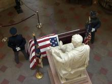 Body of ex-auditor Campbell lies in Capitol