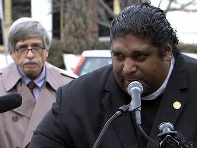 State NAACP President William Barber, right, and Democracy North Carolina Executive Director Bob Hall were among those urging lawmakers during a Jan. 25, 2011, rally to preserve state programs as they address a budget deficit.