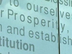 """The Preamble to the Constitution, which is etched in glass at the park, contained a mistake. The wall had the word """"prosperity"""" instead of """"posterity,"""" in the line """"Secure the blessings of liberty ourselves and our posterity."""""""