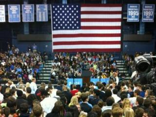 Crowds began filling in to Carmichael Auditorium on the campus of the University of North Carolina at Chapel Hill more than two hours before President Barack Obama was scheduled to arrive.