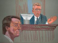 An artist's sketch of John Davis, a former aide to John Edwards who testified Thursday, May 3, 2012, about bungled efforts to keep the former presidential candidate's affair hidden from staff members.