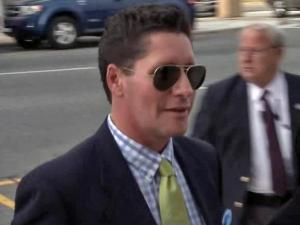 Bryan Huffman arrives at a federal courthouse in Greensboro Friday, May 4, 2012, to testify in John Edwards' trial.