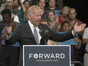Vice President Joe Biden speaks at the Durham Armory on Aug. 13, 2012.