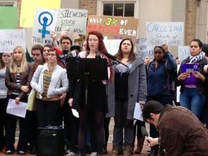 UNC-Chapel Hill students rally on March 1, 2013, in support of a student accused of violating the school honor code by publicly speaking about a sexual assault.