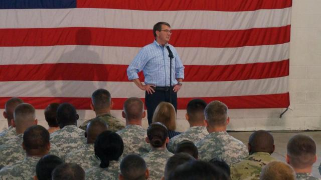 Secretary of Defense Ash Carter took questions in a town hall meeting with troops on Fort Bragg Friday, July 10, 2015.