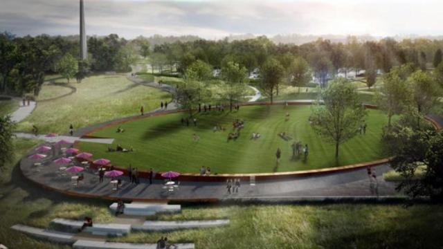 An artist's rendering of the expanded Museum Park at the N.C. Museum of Art shows the central elliptic lawn where museum and community programming will take place.
