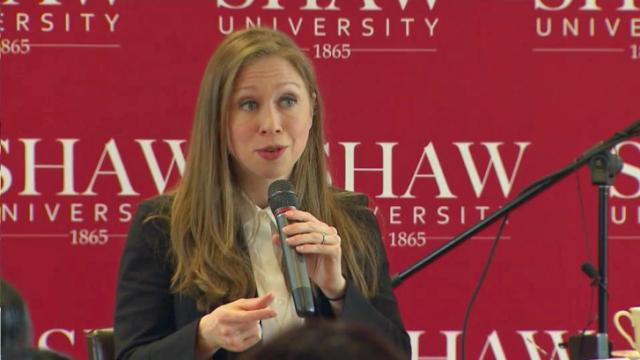 Chelsea Clinton spoke at Shaw University in support of her mother's presidential bid.