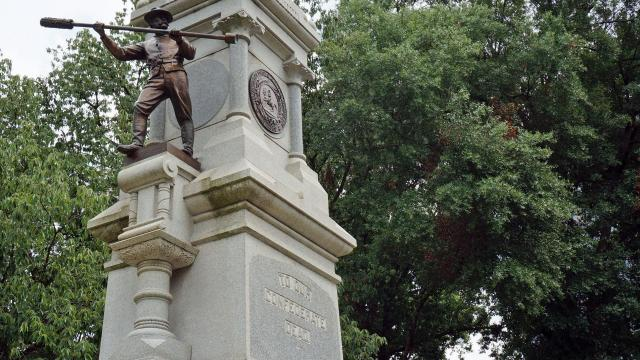 """The Confederate Monument on the west side of the old State Capitol Grounds recognizes that North Carolina troops were the longest serving in the Civil War - the """"First at Bethel, Last at Appomattox"""" (Tyler Dukes/WRAL)."""