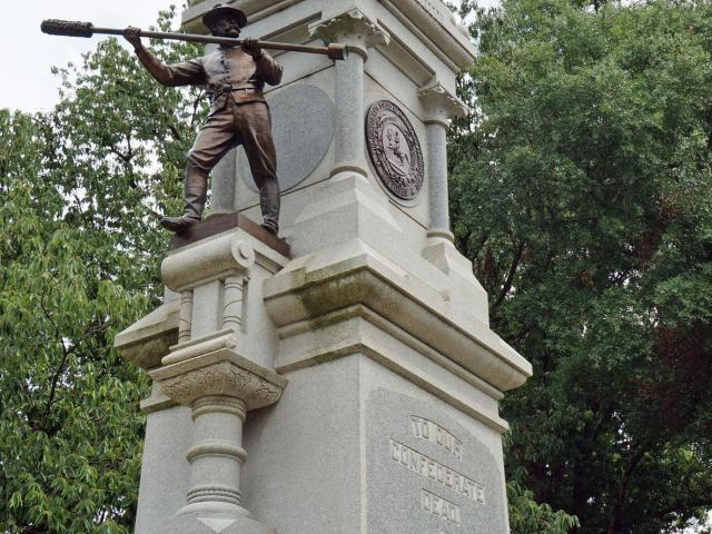 "The Confederate Monument on the west side of the old State Capitol Grounds recognizes that North Carolina troops were the longest serving in the Civil War - the ""First at Bethel, Last at Appomattox"" (Tyler Dukes/WRAL)."