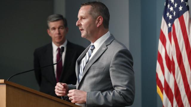 Todd Ishee, Commissioner of Prisons, answers a question during a briefing on the coronavirus pandemic at the N.C. Emergency Operations Center in Raleigh, on May 28, 2020 (Courtesy N.C. Department of Public Safety).