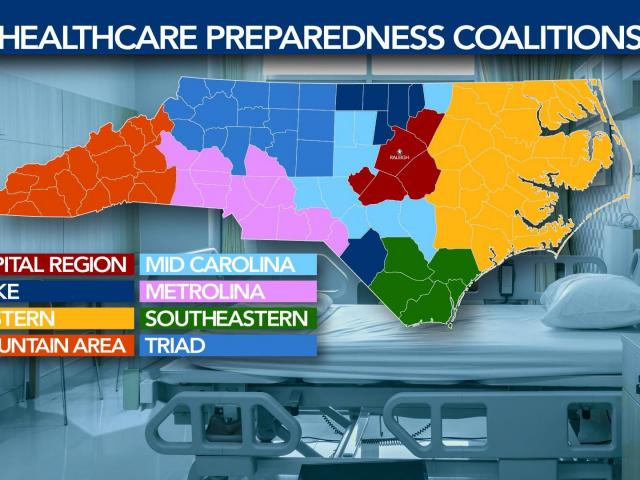 """New COVID-19 data on hospitalizations from the state Department of Health and Human Services is broken down by """"healthcare preparedness coalitions,"""" collections of counties centered around a major hospital."""