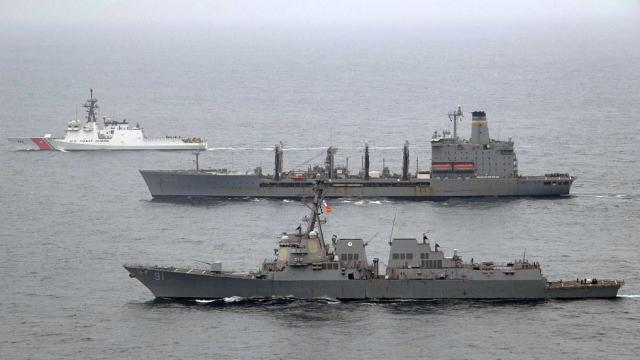 USS Pinckney, USNS Laramie, and USCG James transit the Pacific Ocean. Source: Official U.S. Navy Page