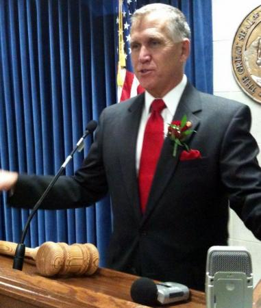 New NC House Speaker Thom Tillis fields reporter questions on Opening Day.