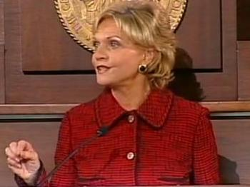 Gov. Bev Perdue addresses a joint session of the North Carolina General Assembly in her second state of the state address on Feb. 14, 2010.