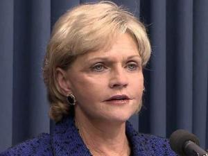 Gov. Beverly Perdue lays out her proposed budgets for 2011-12 and 2012-13 during a Feb. 17, 2011, news conference.