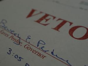 Gov. Bev Perdue's veto stamp