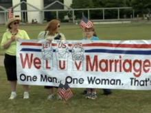 Supports of gay marriage ban rally