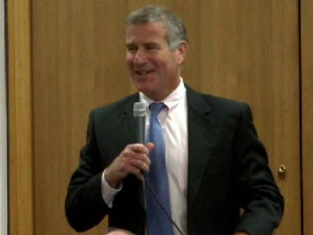 Rep. John Blust, R-Guilford, jokes about his caucus's open-microphone gaffe.