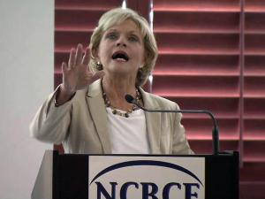 Gov. Beverly Perdue speaks to the N.C. Business Committee for Education on June 7, 2011.