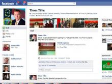 Screen capture of Speaker Thom Tillis's Facebook page at 5:52pm Thursday, the final day of crossover.
